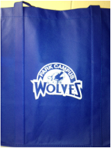 Blue Grocery Tote with Official School Logo Design